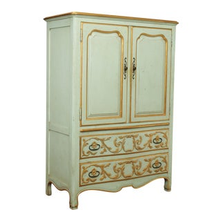 John Widdicomb French Regency Style Vintage Partial Gilt Painted Armoire Chest For Sale
