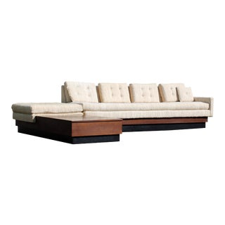 Mid-Century Modern Two-Piece Sofa Black Plinth Base Pearsall Attributed