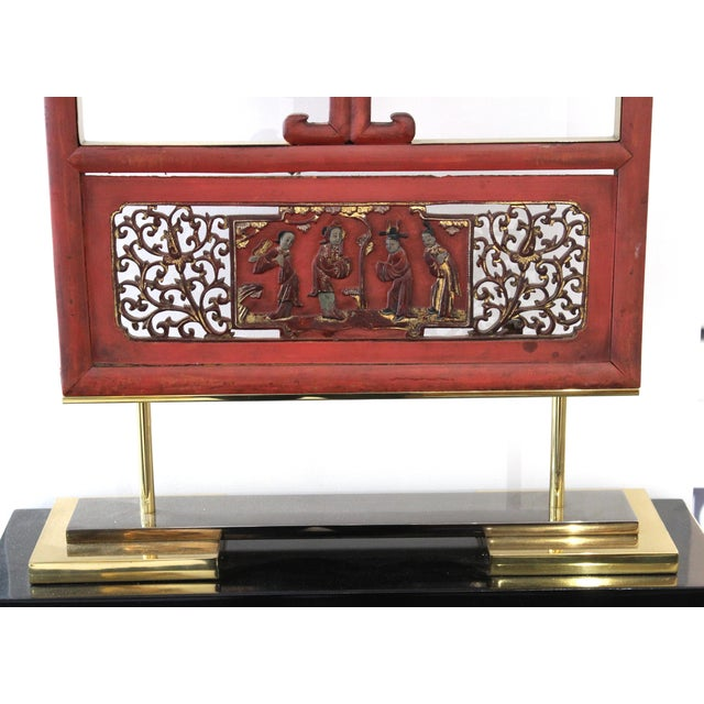 Karl Springer Asian Modern Lacquer Screen Element Mounted on Stand Attributed to Karl Springer For Sale - Image 4 of 13