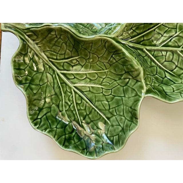 Green Cabbage Leaf 3 Part Serving Platter Made in Portugal For Sale - Image 9 of 11