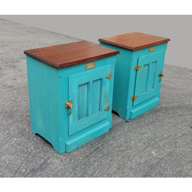 French Country 1990s French Country White Clad Turquoise Nightstands - a Pair For Sale - Image 3 of 12