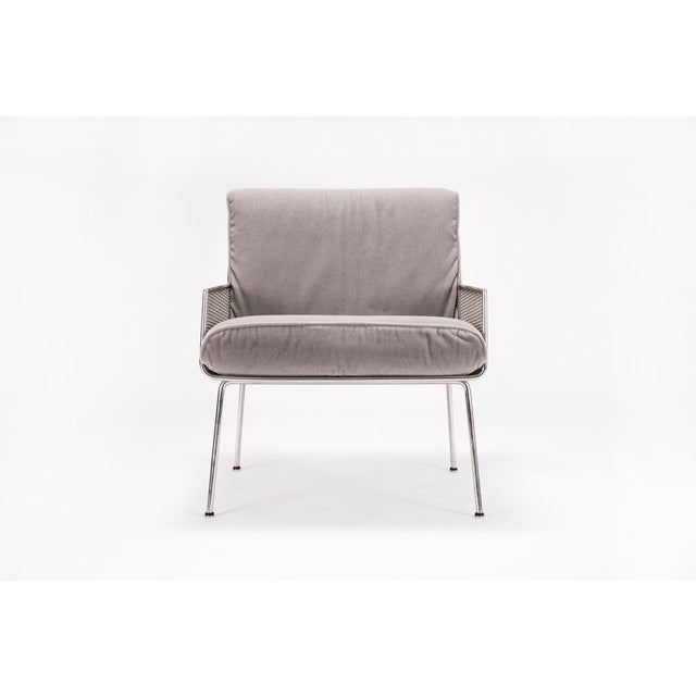 Davis Allen lounge chair from the Inland Steel Building in Chicago, IL. Te chair has loose mohair cushions that rest in...