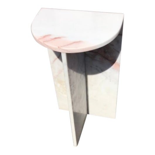 1970's Vintage Solid Marble Side Table For Sale