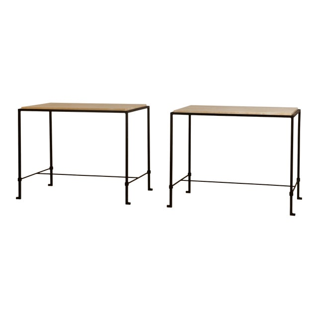"""Pair of 'Diagramme' wrought iron and travertine side tables by Design Frères. Lower bar is 4.5"""" inches from the floor...."""