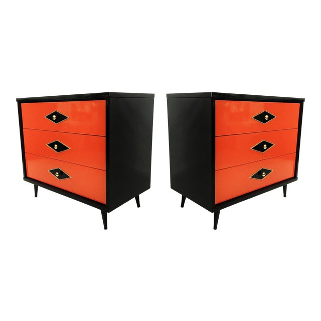 Stunning Pair of Neoclassical Lacquered Chests or Commodes For Sale