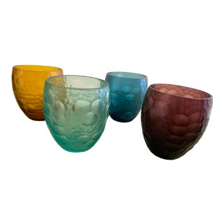 Rablabs Hand Carved Jewel Toned Glass Tumblers - Set of 4 For Sale