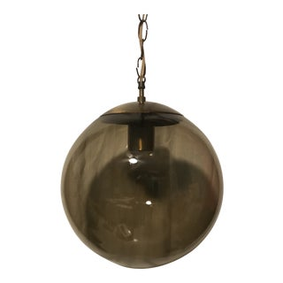 Vintage Mid Century Brass and Smoked Glass Globe Pendant Light For Sale