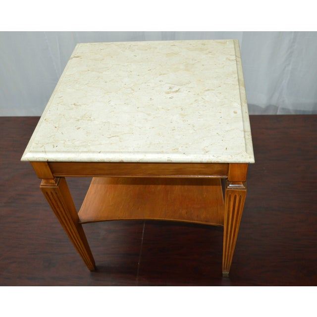 Traditional Square Side Table With Marble Top - Image 4 of 7