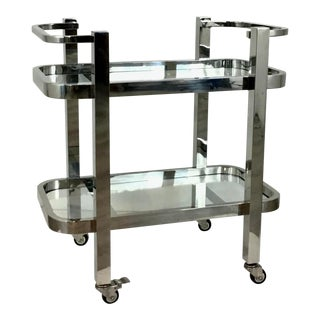 Regina Andrew Modern Glass and Polished Nickel Two-Tier Carter Bar Cart For Sale