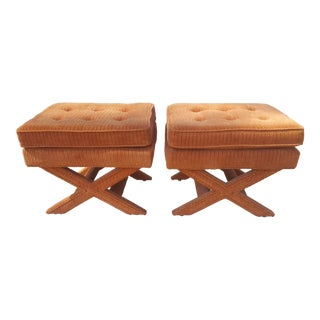A Pair- Vintage American of Martinsville Burnt Orange Corduroy X Ottomans
