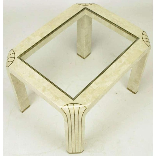 Pair Tessellated Fossil Stone & Inlaid Brass Side Tables - Image 5 of 8