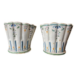 French Painted Faience Bouquetieres - a Pair For Sale