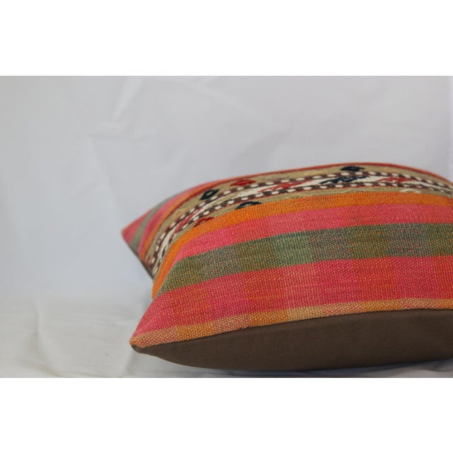 Turkish Handmade Wool Kilim Pillow Cover For Sale In Chicago - Image 6 of 8