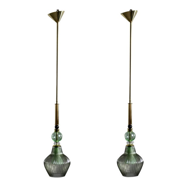 Green Murano Glass Pendant Lights - a Pair For Sale