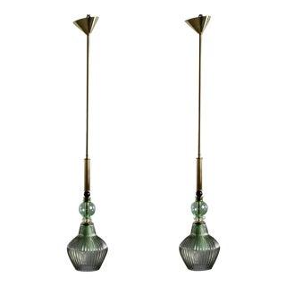 Pair Green Murano Glass Pendant Lights For Sale
