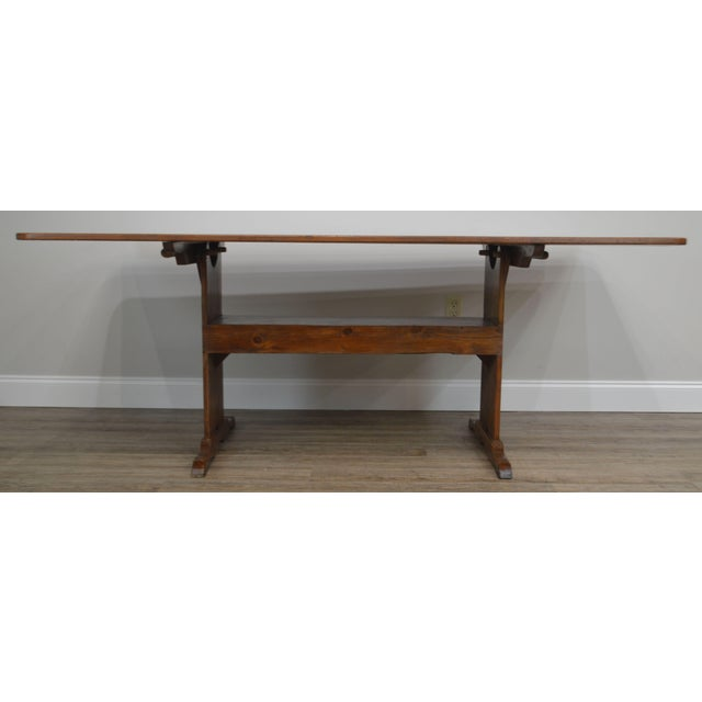 Farmhouse Pine Trestle Base Tilt Top Dining Table For Sale - Image 10 of 13