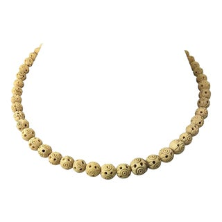 Carved Nut Necklace For Sale