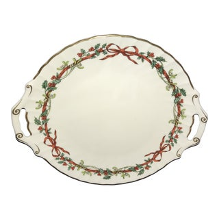 Royal Worcester Holly Ribbons Holiday Dessert Plate With Handles For Sale