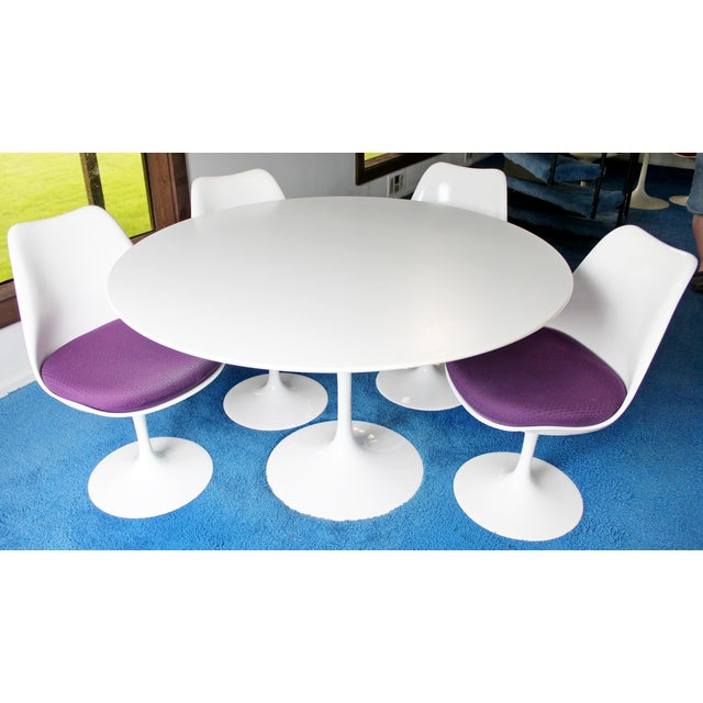 For your consideration is a stunning, tulip style dining set, with table and four chairs, in the style of Saarinen for...
