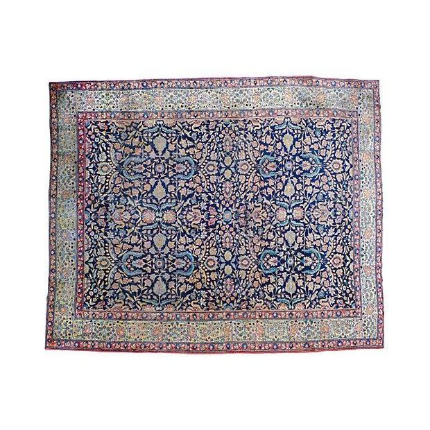 "Blue Antique Persian ""Tabriz"" Handmade Rug - 9′ × 12′ For Sale - Image 8 of 8"