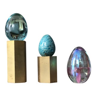 Turquoise and Art Glass Springtime Egg Set of 3