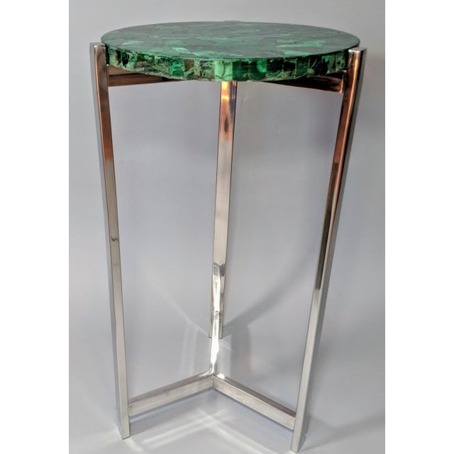 Art Deco Malachite & Chrome Side Table For Sale In Providence - Image 6 of 13