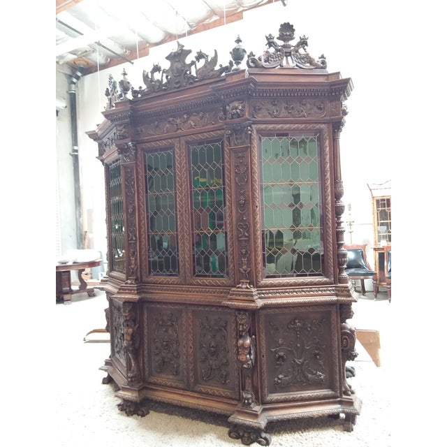 Glass Ornate Renaissance Revival French Bookcase For Sale - Image 7 of 12