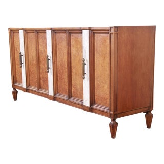 Romweber Mid-Century Hollywood Regency Burl Wood Sideboard Credenza or Bar Cabinet For Sale