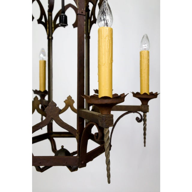 Gold Large Antique Gothic Revival Bronze & Mica Lanterns (2 Available) For Sale - Image 8 of 13