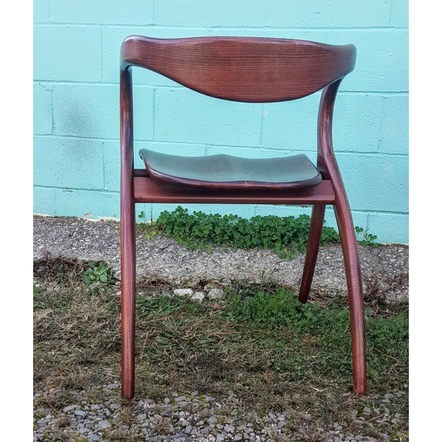 Vintage Solid Curved Cherry Wood Dining Chairs - Set of 6 For Sale In Raleigh - Image 6 of 9
