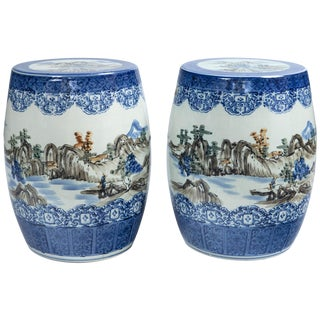Pair of Japanese Ceramic Garden Stools, Early 20th Century For Sale