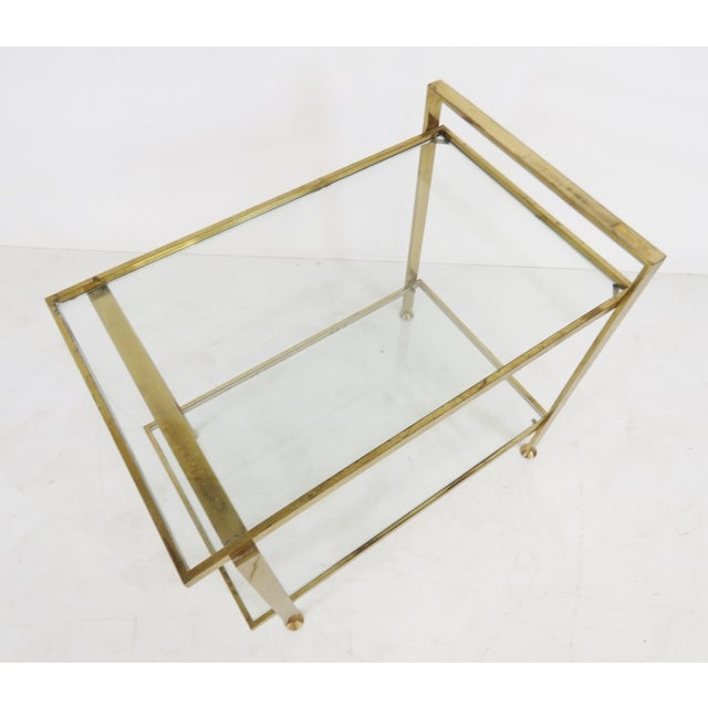 Mid-Century Modern Brass & Glass Side Table - Image 2 of 3