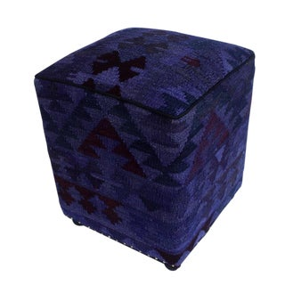 Arshs Delsie Purple/Drk. Gray Kilim Upholstered Handmade Ottoman For Sale