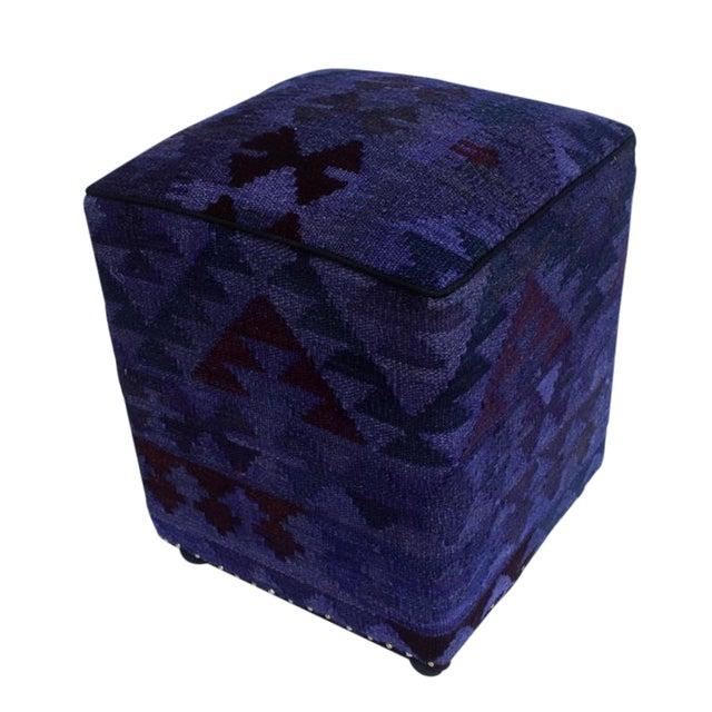 Arshs Delsie Purple/Drk. Gray Kilim Upholstered Handmade Ottoman For Sale