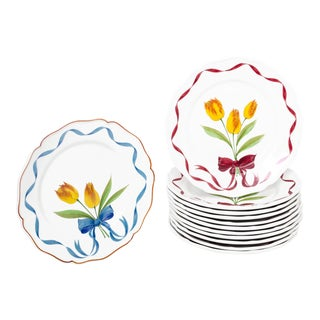 Este Ceramiche Italy Tulip Bouquet Dinner Buffet Plates - Set of 12 For Sale
