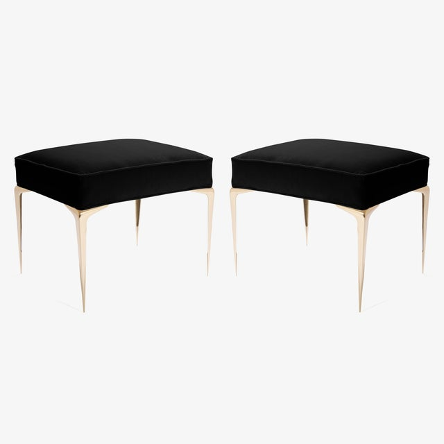 Contemporary Colette Brass Ottomans in Noir Velvet by Montage, Pair For Sale - Image 3 of 7