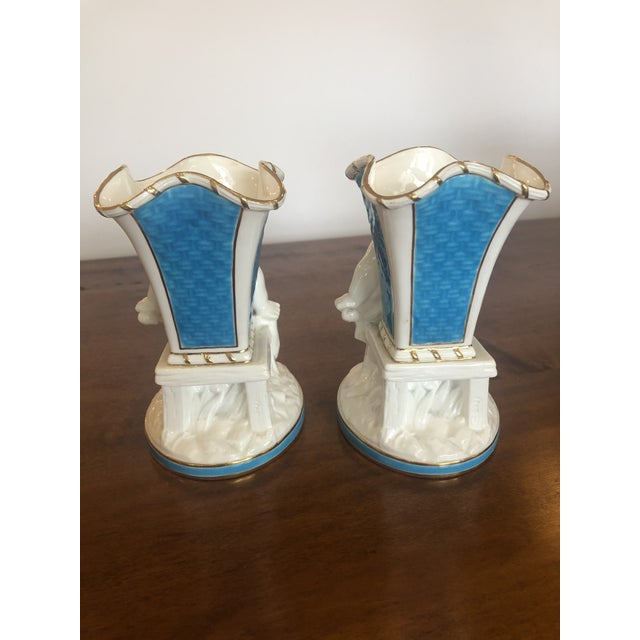 Ceramic Cherub Minton Caldwell Tiffany Blue and White Spill Vases -Pair For Sale - Image 7 of 11