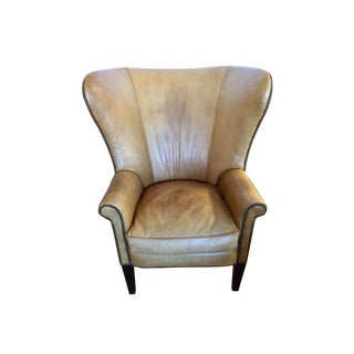 Ralph Lauren Signed Large Leather Nailhead Wingback Chair For Sale