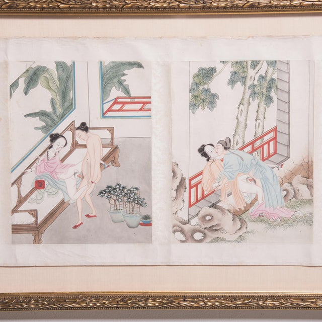 Asian Framed 19th Century Chinese Erotic Pillow Book For Sale - Image 3 of 9