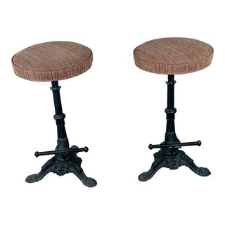 Beautiful Victorian Cast Iron Bar Stools - Circa 1890s - a Pair For Sale