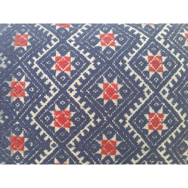 Indigo Red Star Embroidered Pillow - Image 3 of 5
