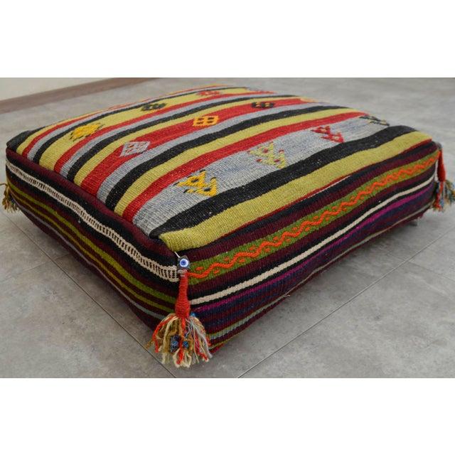 Turkish Hand Woven Kilim Floor Cushion Sitting Pillow Cover | Chairish
