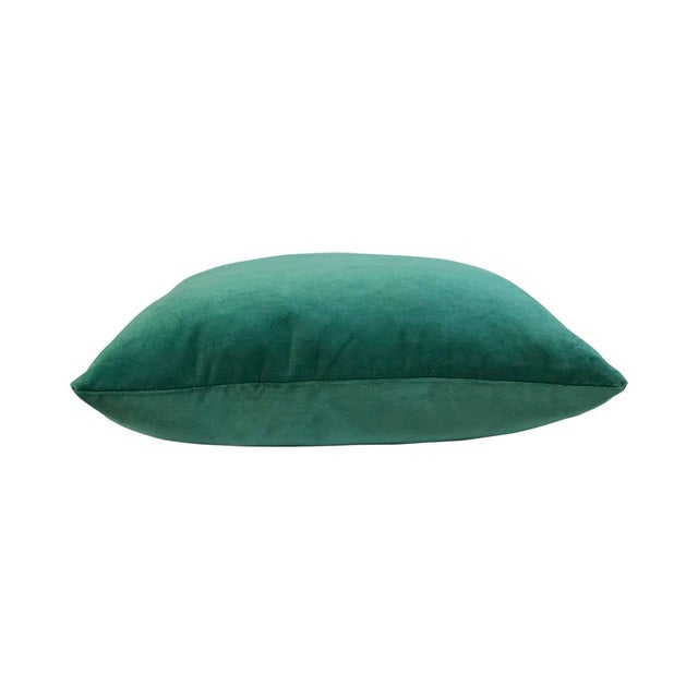 "By Kim Salmela two ""20x20"" Evergreen Silk Velvet square throw pillows, double faced. Pillow Insert: Feather/Down New:..."