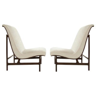 Highback Walnut and Chenille Slipper Chairs, Art Deco Style For Sale