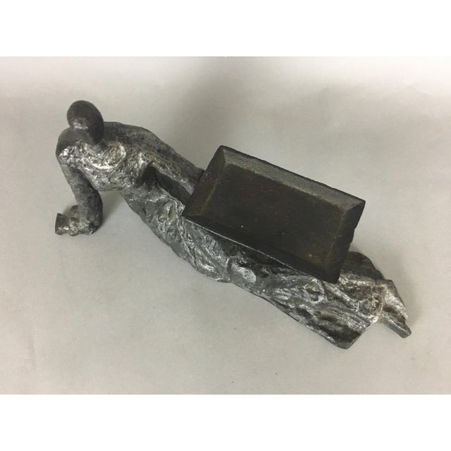 Mid 20th Century Mid-Century Metal Sculpture of Reclining Female Business Card Holder For Sale - Image 5 of 12