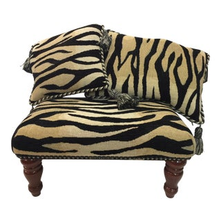 Footstool & 2 Pillows Flemish Tapestry Zebra For Sale
