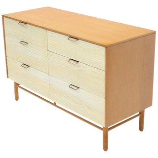 Two Tone Six 6 Drawer Cerused Oak Dresser Credenza by Mengel For Sale
