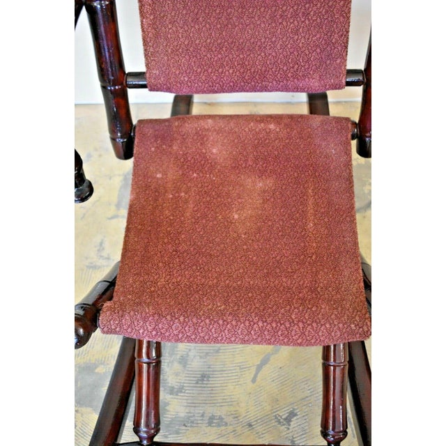 Asian Antique Vintage Faux Bamboo Rocking Chair With Mahogany Finish and Maroon Upholstery For Sale - Image 3 of 10