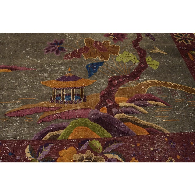"""Antique Chinese Art Deco Rug 8'10""""x11'6"""" For Sale - Image 10 of 13"""