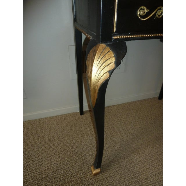 1920s French Country Ebony and Gold Leaf Secretary Desk and Chair. For Sale In Chicago - Image 6 of 9